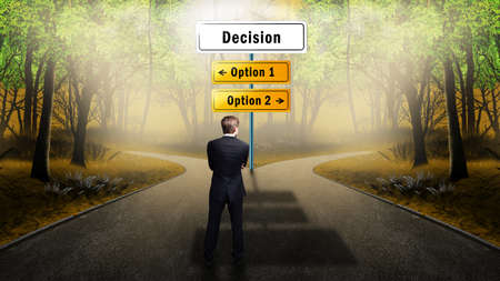 businessman standing at a crossroad having to decide whether to take the risky or the safe way to yield Stockfoto