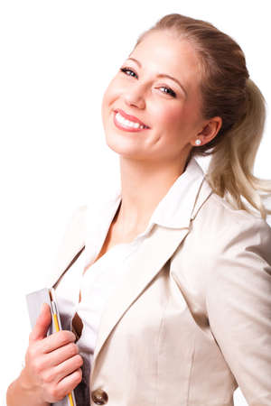 self assured: young blonde businesswoman