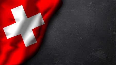 Schweizer Flagge auf einer Tafel Standard-Bild - 36100817
