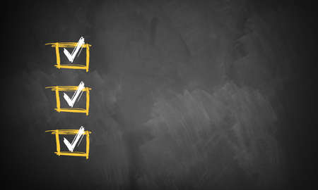 checklist: blackboard with 3 checked rows ready for customization with own checklist items