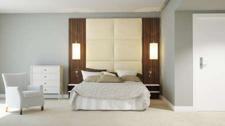 3D rendered hotel room