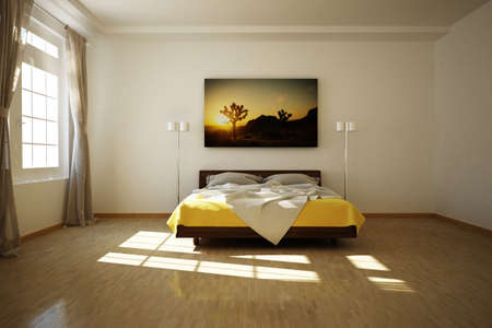 double beds: 3D rendered bed room