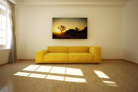 sofa: 3D rendered empty room with a sofa