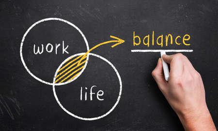 professions: mano dibuja un diagrama con el 2 c�rculos de trabajo y de vida, lo que resulta en una zona de balance de superposici�n Foto de archivo