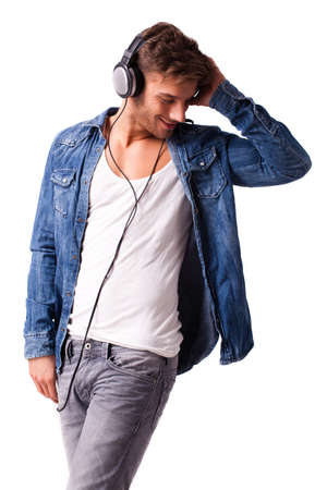 low cut: handsome young man listening to music