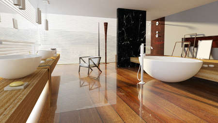 3D rendered bath room