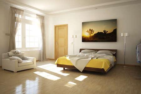 queen bed: 3D rendered bed room