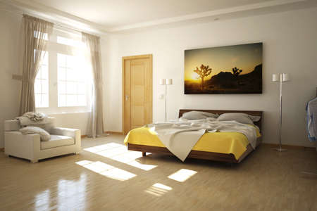 3D rendered bed room