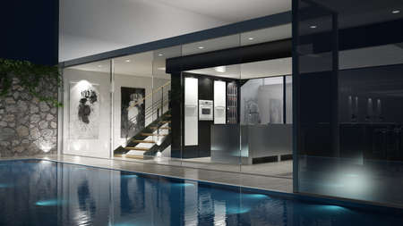 3D rendered house with a glassfront and a pool