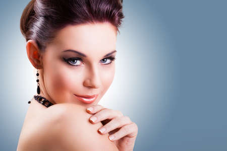 up do: attractive smiling woman Stock Photo