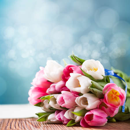 bouquet of tulips in front of spring scene photo