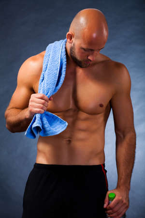 bare chested: muscular man after workout