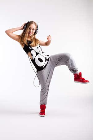 young dancing girl 스톡 콘텐츠