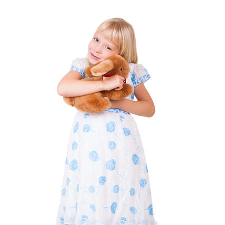plush toy: cute girl with a plush toy Stock Photo