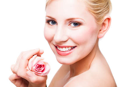 beautiful blonde woman with a rose photo