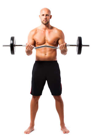 man working out: muscular man with a barbell during a workout isolated on white Stock Photo