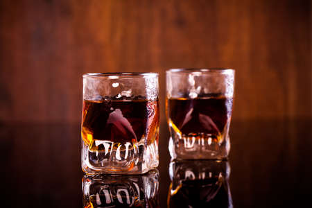 two shots of rum Stock Photo