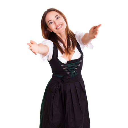 dirndl: happy and beautiful woman in a taditional bavarian dirndl