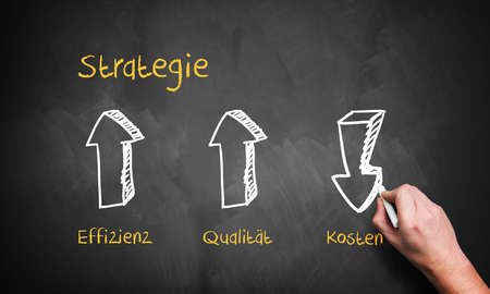 strategy diagram with the words strategy, efficiency, quality and costs in German photo