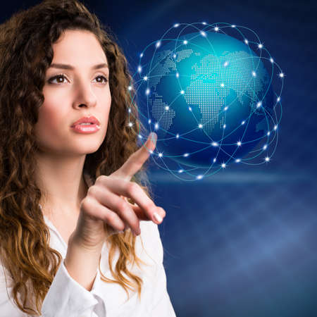 holographic: businesswoman with a virtual globe