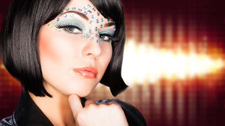 glam rock: attractive young woman Stock Photo