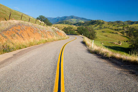 on the lonely road: lonely road in the foothills of the sierra nevada, usa