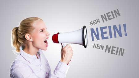 young woman shouting No! through a megaphone (in German)