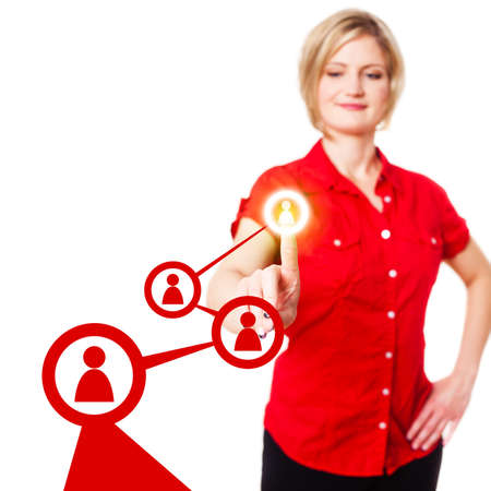 activating: young woman activating a word of mouth chain Stock Photo