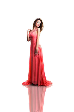 musing: attractive woman in a long dress