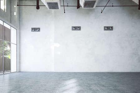 empty rendered industrial hall Standard-Bild