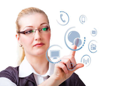 selecting: businesswoman selecting chat as a communication option Stock Photo