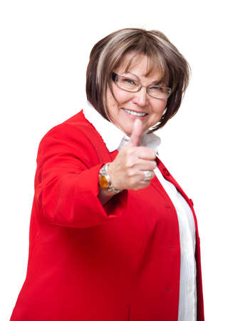 senior businesswoman with thumb up gesture Stock Photo