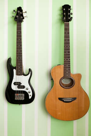 electric and acoustic guitar photo