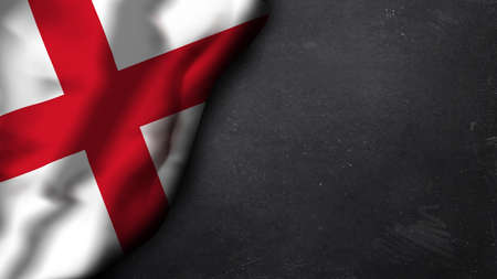 red flag up: english flag on a chalkboard Stock Photo