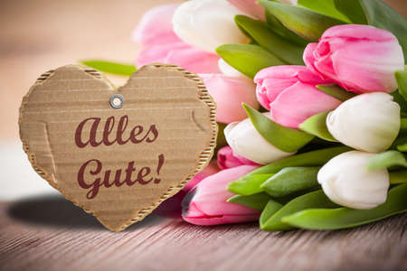 best wishes: tulips with message saying Best wishes! in German