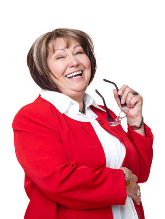 delighted: senior smiling woman