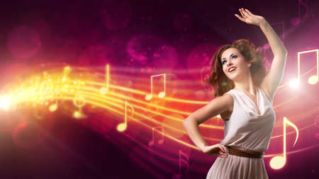 recedes: attractive girl dancing to music