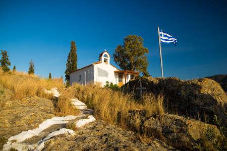 poros: small chapel in Poros Greece Stock Photo