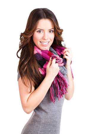 attractive brunette woman with a scarf on isolated background photo
