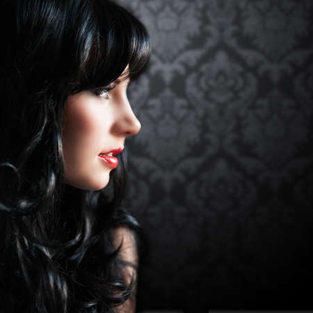 nose close up: attractive black haired woman Stock Photo