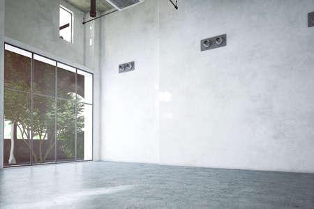 empty rendered industrial room