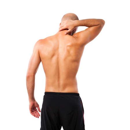 hombre calvo: musculoso hombre que tiene dolor en el cuello
