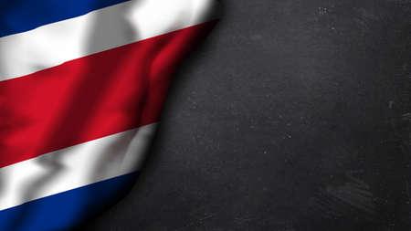 Flagge von Costa Rica auf einem Kreide Hintergrund Standard-Bild