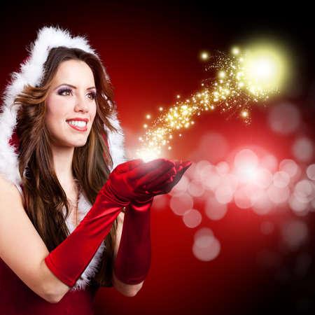 mrs santa: attractive miss santa with twinkling stars