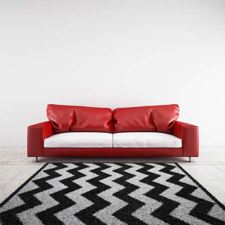 red sofa: 3D rendered sofa in a room