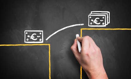 ingresos: mano dibuja infografía cómo cerrar una brecha a un nivel monetario más alto