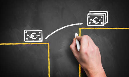 hand draws infographic how to close a gap to a higher monetary level