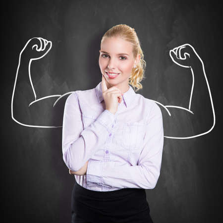 negotiate: businesswoman with drawing symbolizing power Stock Photo