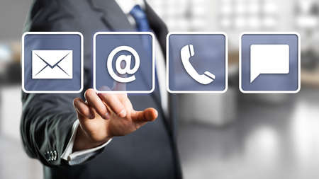 email symbol: businessman selecting email as a contact option