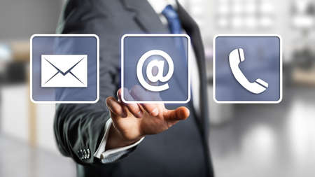 contact: businessman selecting email as a contact option